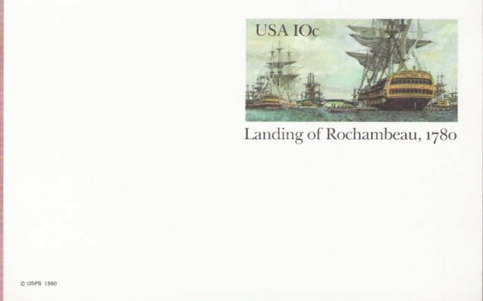 1980, US Scott UX84, 10-cent Post Card, Landing of Rochambeau, 1780, Mint