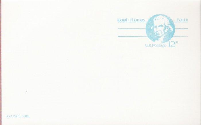 1981, US Scott UX89, 12-cent Post Card, Isaiah Thomas, Mint