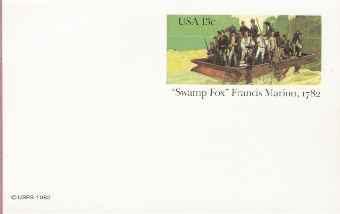 1982, US Scott UX94, 13-cent Post Card, Swamp Fox, Francis Marion, 1782, Mint