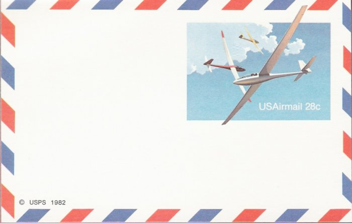 1982, US Scott UXC20, 28-cent Air Post Card, Soaring Gliders, Mint
