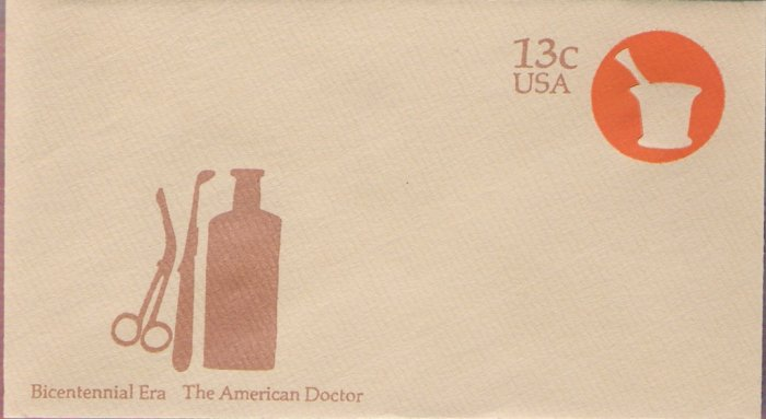 1976, US Scott U574, 13-cent Small Envelope 3.625 x 6.5 inch, Bicentennial Era  The American Doc