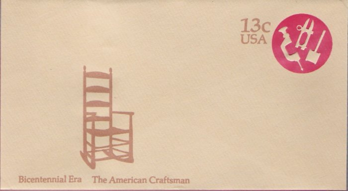 1976, US Scott U575, 13-cent Small Envelope 3.625 x 6.5 inch, Bicentennial Era  The American Cra