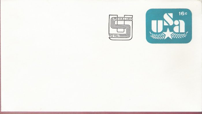 1978, US Scott U586, 16-cent Revalued to 15-cent Small Envelope 92 x 165 mm, Olive Branch and St