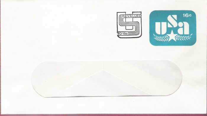 1978, US Scott U586, 16-cent Revalued to 15-cent Small Window Envelope 92 x 165 mm, Olive Branch