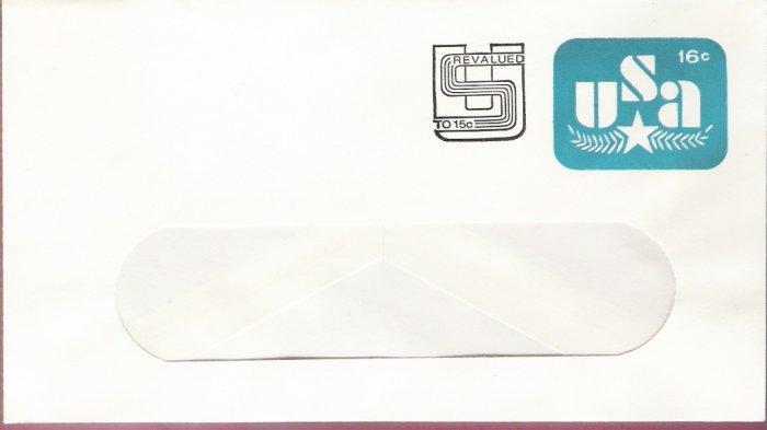 1978, US Scott U586, 16-cent Revalued to 15-cent Large Window Envelope 105 x 242 mm, Olive Branc