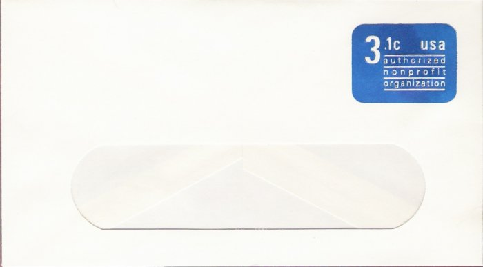 1979, US Scott U589, 3.1-cent Small Window Envelope 3.625 x 6.5 inch, Authorized Nonprofit, Mint