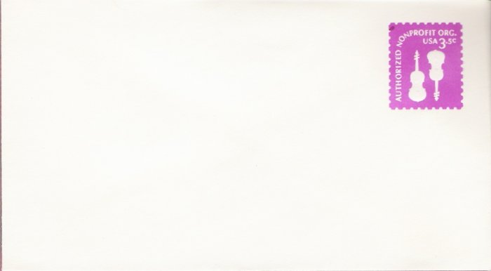 1979, US. Scott U590, 3.5-cent Small Envelope 3.625 x 6.5 inch, Authorized Nonprofit Violins, Min