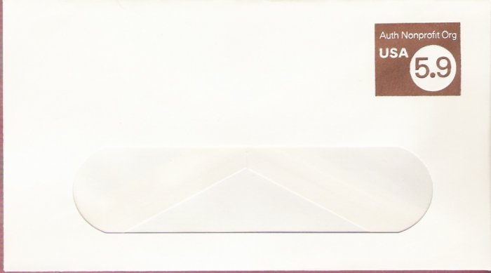 1982, US Scott U591, 5.9-cent Large Window Envelope 4.125 x 9.5 inch, Authorized Nonprofit USA,