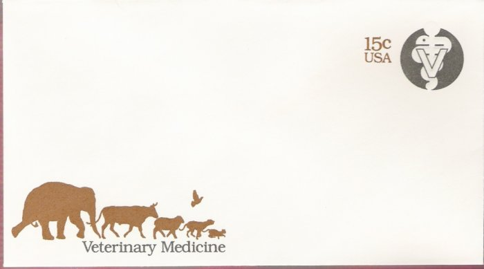 1979, US Scott U595, 15-cent Large Envelope 4.125 x 9.5 inch, Seal of Veterinary Medicine, Mint