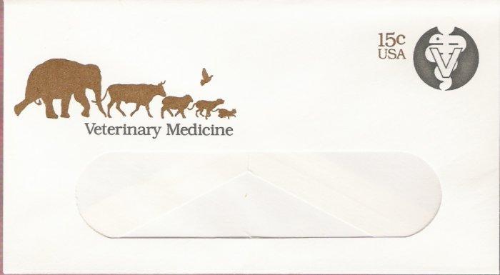 1979, US Scott U595, 15-cent Small Window Envelope 3.625 x 6.5 inch, Seal of Veterinary Medicine