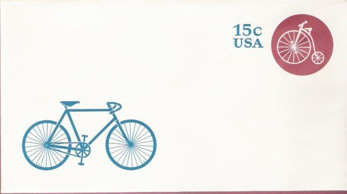 1980, US Scott U597, 15-cent Small Envelope 3.625 x 6.5 inch, High Wheeler Bike , Mint
