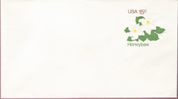 1980, US Scott U599, 15-cent Large Envelope 4.125 x 9.5 inch, Honeybee, Mint