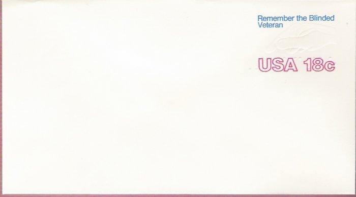 1981, US Scott U600, 18-cent Small Envelope 3.625 x 6.5 inch, Remember the Blinded Veteran , Min