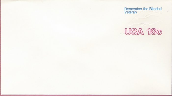 1981, US Scott U600, 18-cent Large Envelope 4.125 x 9.5 inch, Remember the Blinded Veteran, Mint