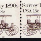 US Scott 1907 - Coil Strip of 2 Plate No 10 - Surrey 18990s - 18 cent - Mint Never Hinged