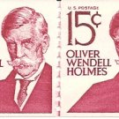 US Scott 1305E Line Pair - Oliver Wendell Holmes - 15 cent - Mint Never Hinged
