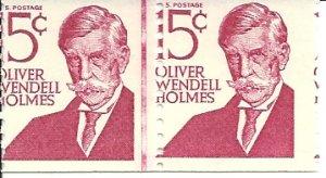 US Scott 1305E Line Pair - Perforation Error - Oliver Wendell Holmes - 15 cent - Mint Never Hinged