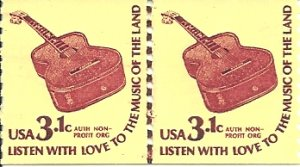 US Scott 1613 Line Pair - MUSIC GUITAR 3.1 cent - Mint Never Hinged