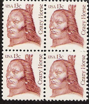 US Scott 1855 - Block of 4 - Crazy Horse 13 cent - Mint Never Hinged