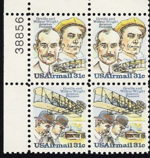 US Scott C92a  (C91 C92) Plate Blockof 4 Plate No 38856 - Wright Brothers 31 cent - MINT N H