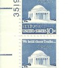 US Scott 1510 - Plate Block of 2 - Jefferson Memorial - UL 35192 - Mint Never Hinged