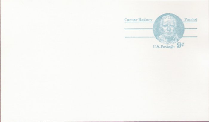 1976, US Scott UX70, 9-cent Post Card, Caesar Rodney, Mint