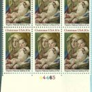 US Scott 2026 - Plate Block of 6 - Bottom Plate #444465 - Tiepolo: Madona & Child 20cent - Mint N H