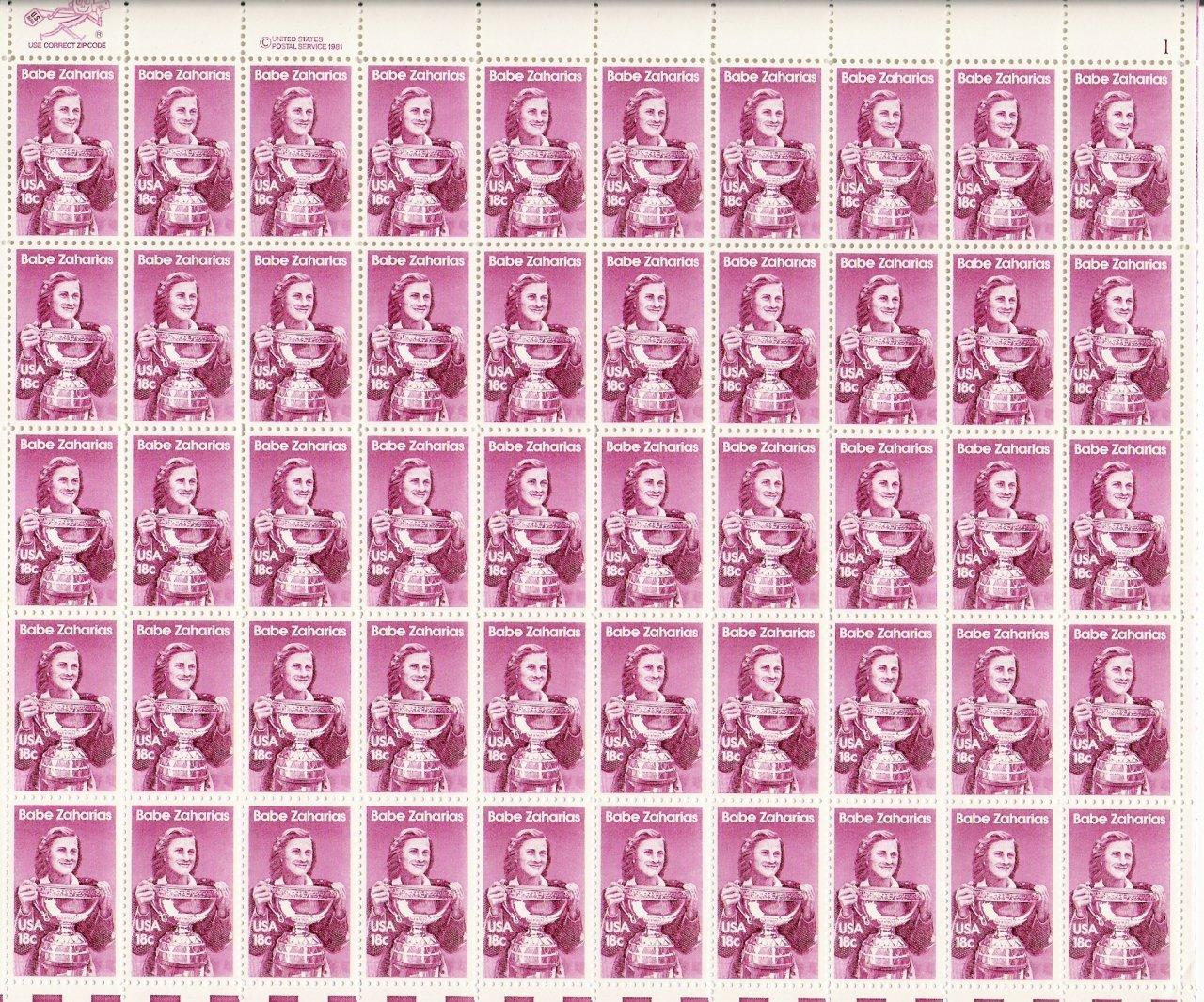 US Scott 1932 - Sheet of 50 - Babe Zaharais - Mint Never Hinged
