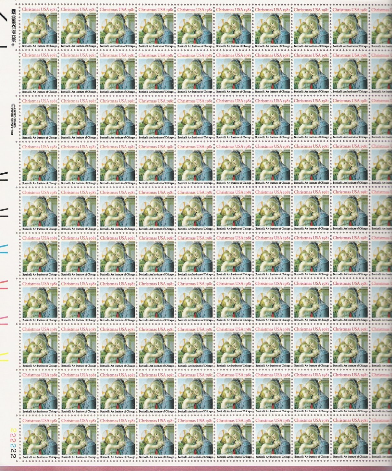 US Scott 1939 - Sheet of 100 - Christmas 1981 - religious - Mint Never Hinged