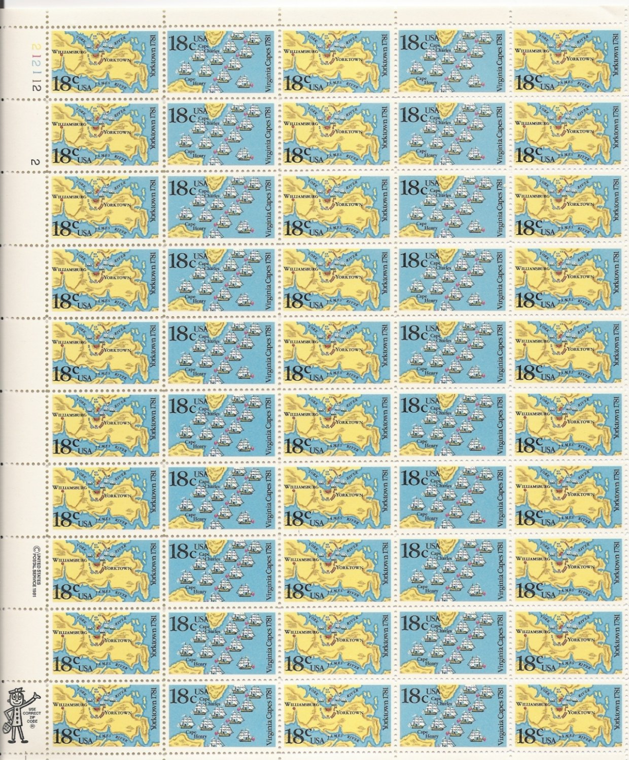 US Scott 1937 1938 - Sheet of 50 - Battle of Yorktown & Virginia Capes - Mint Never Hinged