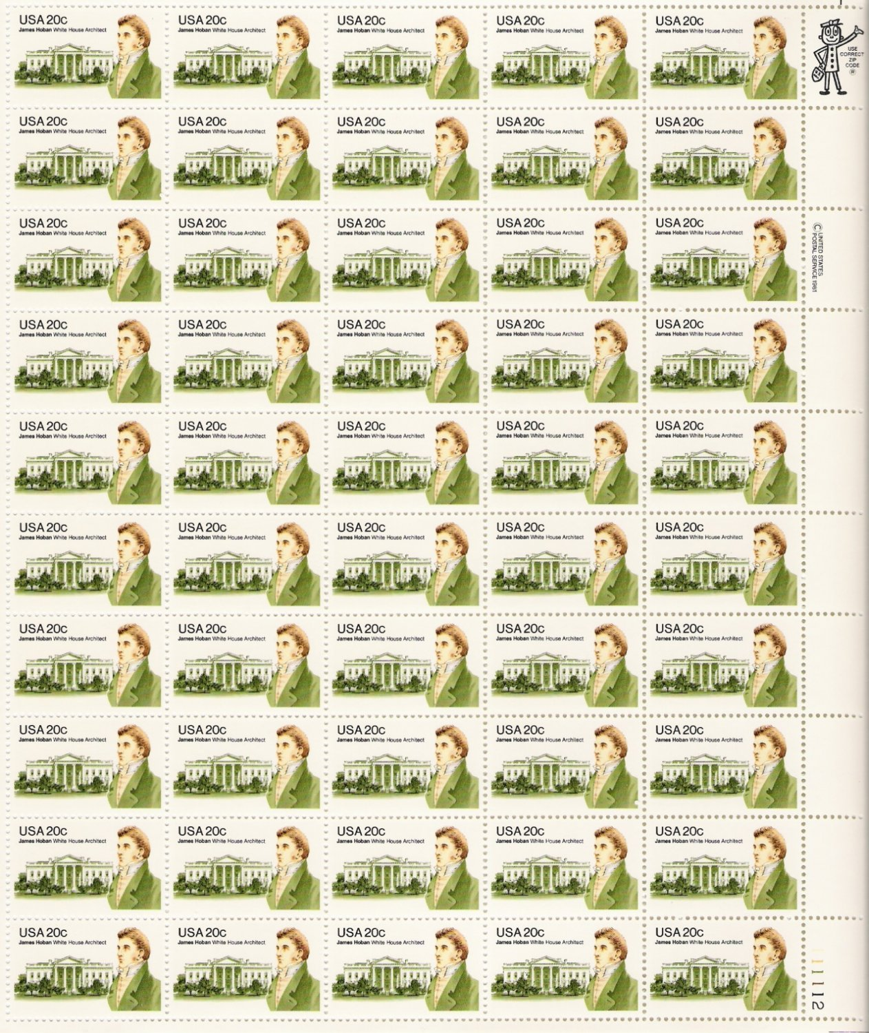 US Scott 1936 - Sheet of 50 - 20c James Hoban - Mint Never Hinged