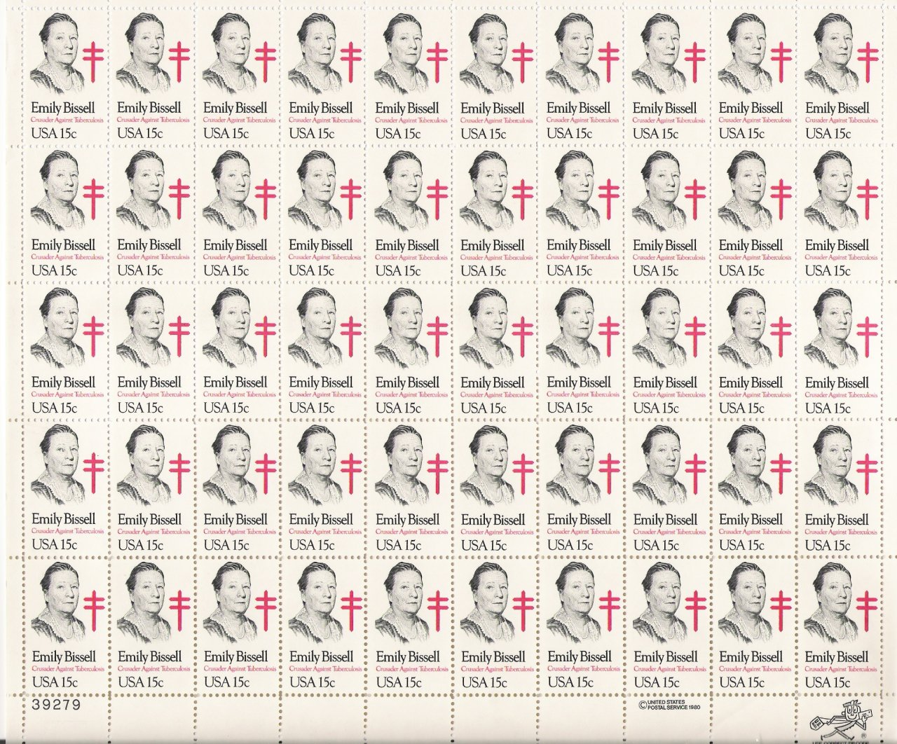 US Scott 1823 - Sheet of 50 - Emily Bissell - Mint Never Hinged