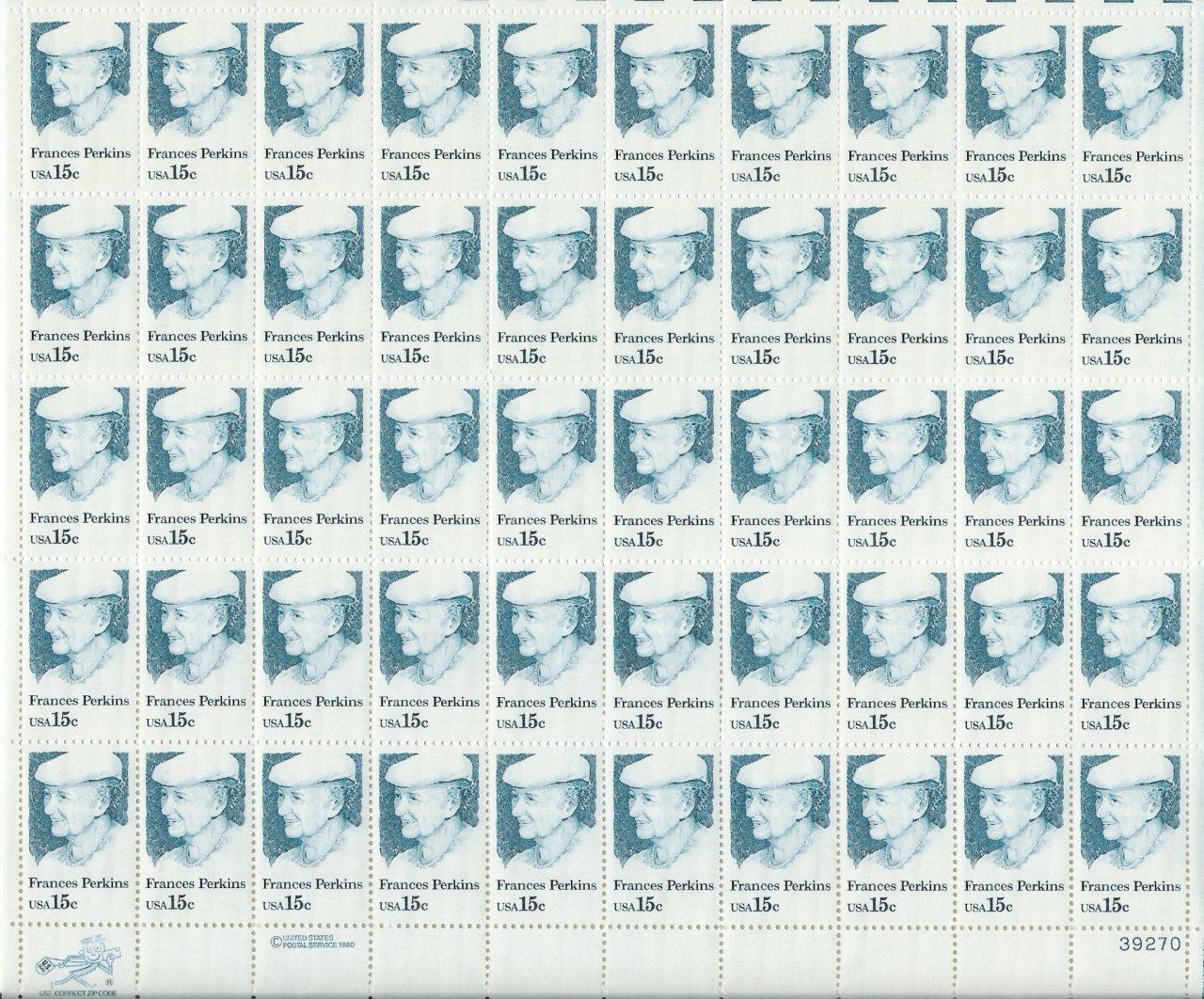 US Scott 1821 - Sheet of 50 - Francis Perkins - Mint Never Hinged