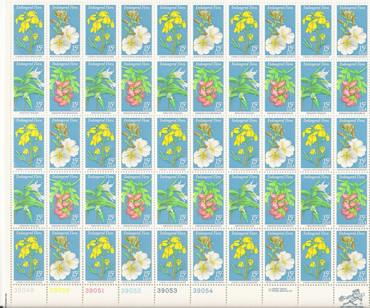 US Scott 1783 1784 1785 1786 - Sheet of 50 - Endangered Flora - Mint Never Hinged