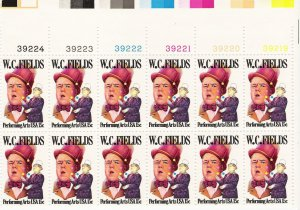 US Scott 1803 - Plate Block of 12 (left) - W C Fields 15 cent - Mint Never Hinged