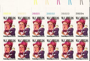 US Scott 1803 - Plate Block of 12 (right) - W C Fields 15 cent - Mint Never Hinged