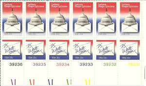 US Scott 1809-1810 - Plate Block 12 - National Letter Writing 15 cent - Mint Never Hinged