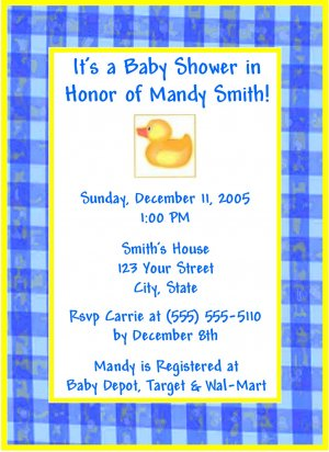 50 Rubber Ducky Duckie Baby Shower Invitations