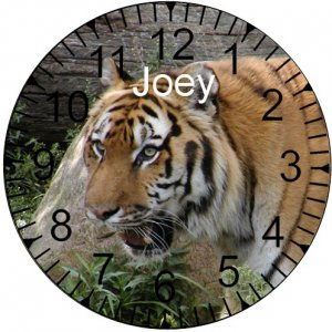 "9"" Personalized Tiger Clock ~ Wildlife"