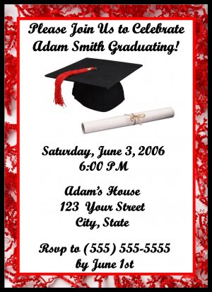 20 Personalized Graduation Party Invitations~Custom made to your school colors