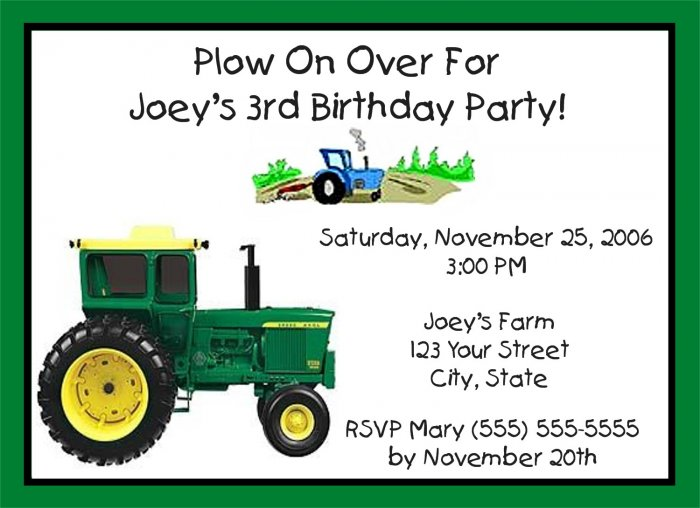 4a8795668f31c_88399b 20 personalized tractor birthday party invitations,Tractor Birthday Party Invitations