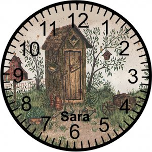 """9"""" Personalized Country Outhouse Clock"""