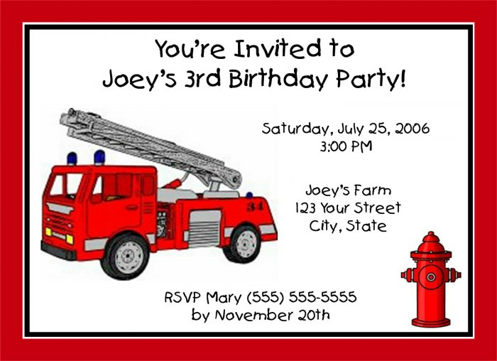 20 Personalized Fire truck Birthday Party InvitationsFiretruck – Firetruck Birthday Invitations