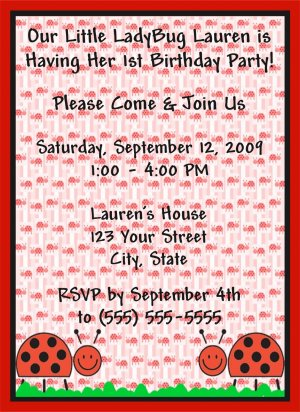 20 Personalized Ladybug Birthday Party Invitations