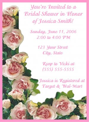 30 Personalized Pink Rose Bridal Shower Invitations