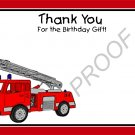 20 Personalized Fire Truck Thank You Cards