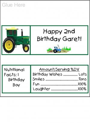 20 Personalized Tractor Candy Bar Wrappers