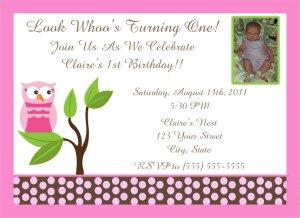 20 Pink Owl Birthday Party Invitations