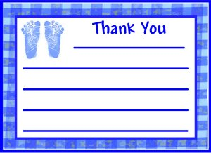 24 Footprint  Baby Shower Thank You Cards-Boy or Girl
