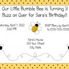 20 Personalized Bumble Bee Birthday Party Invitations